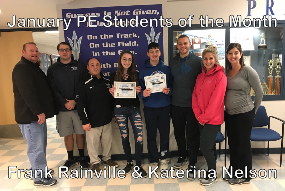Columbia PE Students of the Month Frank Rainville and Katerina Nelson