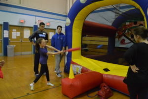 Student athletes volunteered at Winterfest by helping with games and activities.