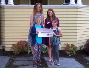 Red Mill teachers Sarah Flannery and Brittany Slagen with students Kindle Young and Elizabeth Durphy at the Ronald McDonald House in Albany.