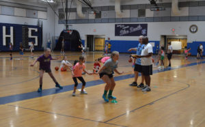 Defensive drills at basketball camp