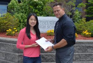 Lyana Geng '16 with Columbia Principal John Sawchuk.