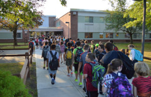 Students entering Goff Middle School