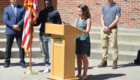 Student speaks at podium