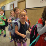 Students lined up at Genet Elementary School