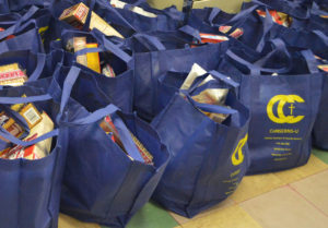 Thanksgiving meals packed and ready for pickup last November.