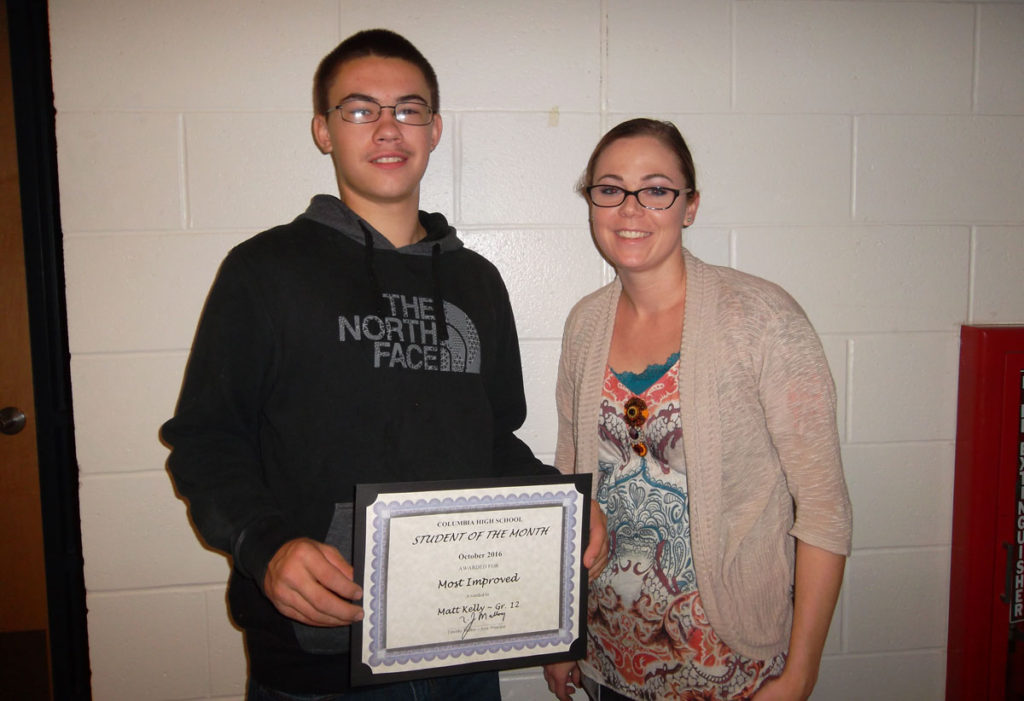 Matt Kelly student of the month