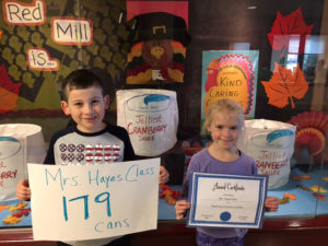 Students in Mrs. Hayes' class collected 179 cans of cranberry sauce, the most by any one class in the school.