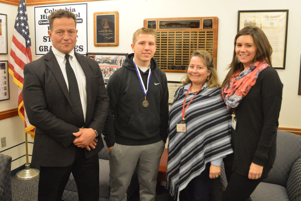 L to R: Principal Sawchuk, Devin Neal, Mrs. Sheraw, Mrs. Dyer.