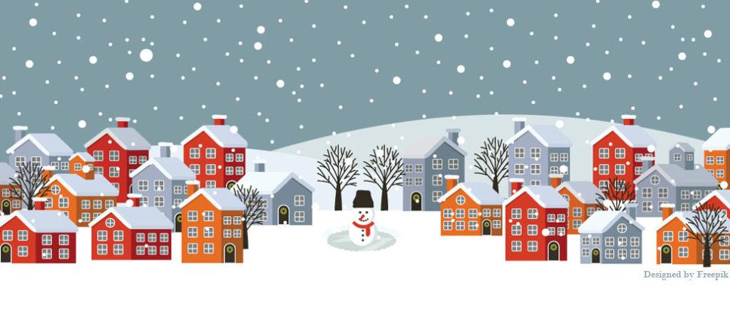 Winter scene with attribution