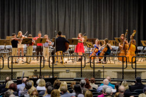Orchestra performs on stage