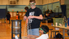 Students build tower during Science Olympiad competition