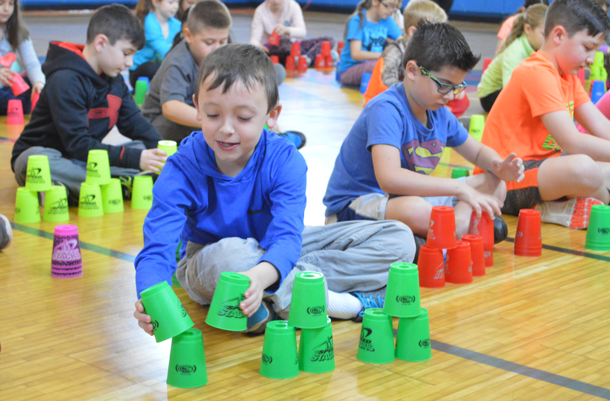 Students practice sport stacking