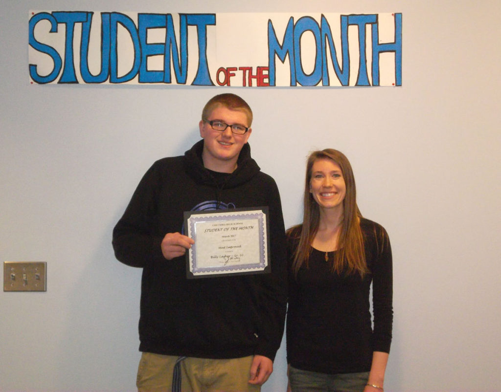 Billy Lasher named CHS Student of the Month