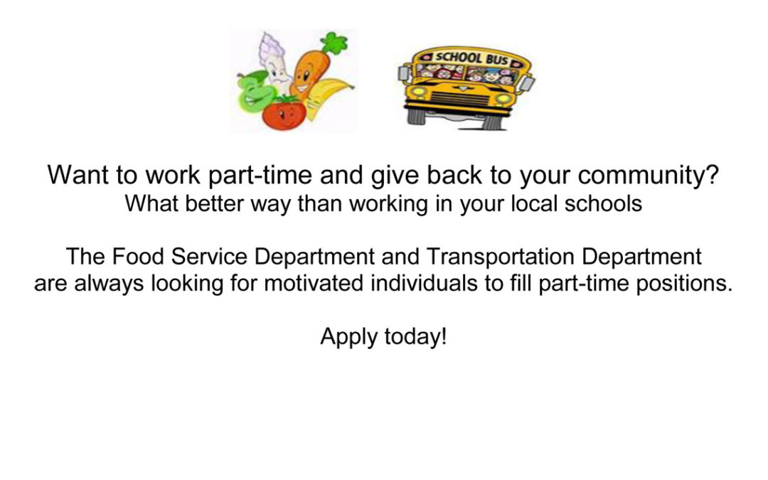 Now Hiring: Positions in Food Services and Transportation