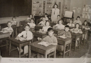 A photograph of a family member in school circa 1946.