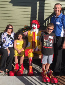 L to R: Student Council Advisors Joan Davis and Scott Siver with Hannah Ortiz and Ryan Ecker at the Ronald McDonald House in Albany.