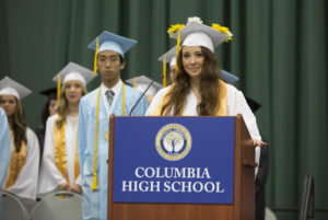 Gianna Fiacco speaks at 2017 Columbia graduation