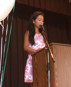 Ada Wu speaking at Moving Up Ceremony