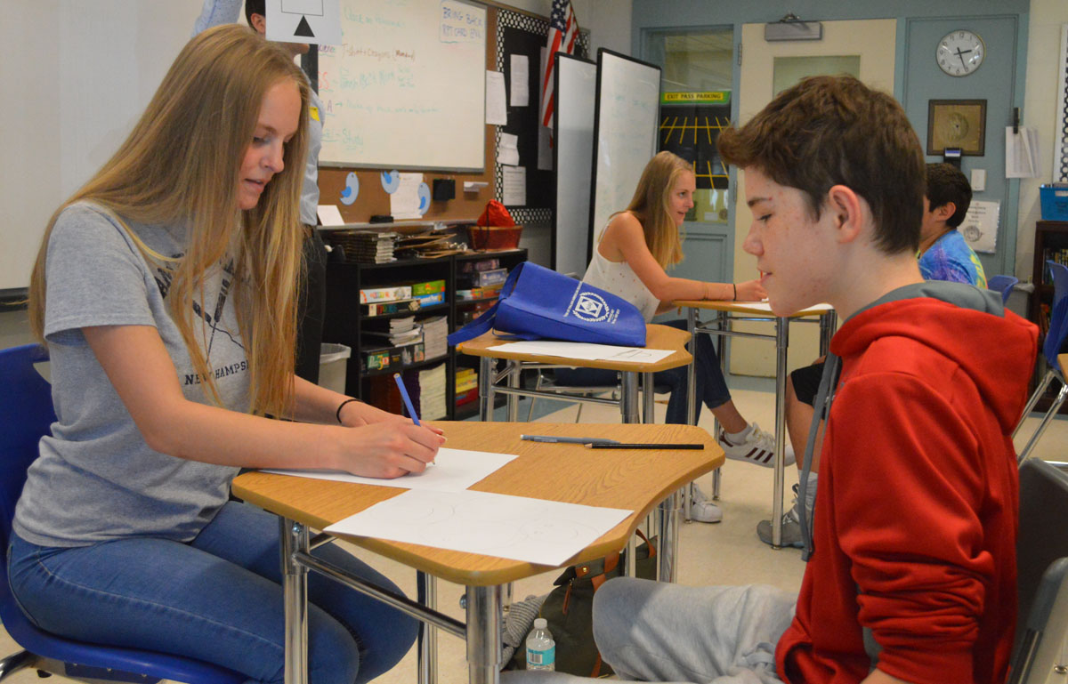 Students work with each other