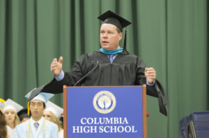 Superintendent Simons speaking at graduation