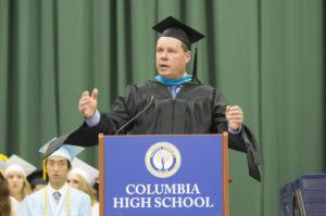 Superintendent Simons speaking at graduation