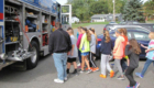 Students look at fire truck