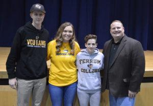 Michael Leonard with student athletes