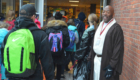 Students enter school on Star Wars Day