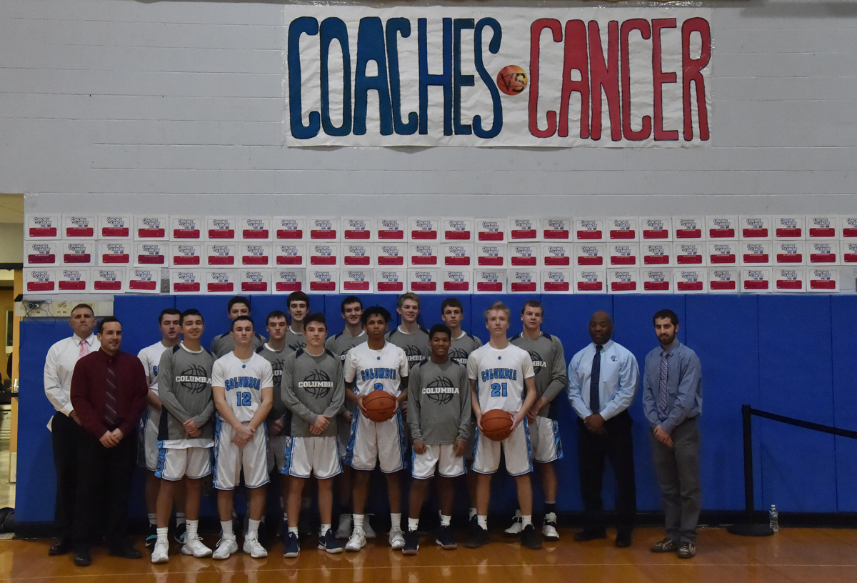 Columbia boys' basketball team at Coaches vs. Cancer game