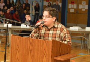 Gavin Trautman answers a question at the Goff Geography Bee