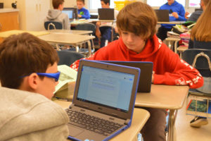 Goff students using chromebooks in class