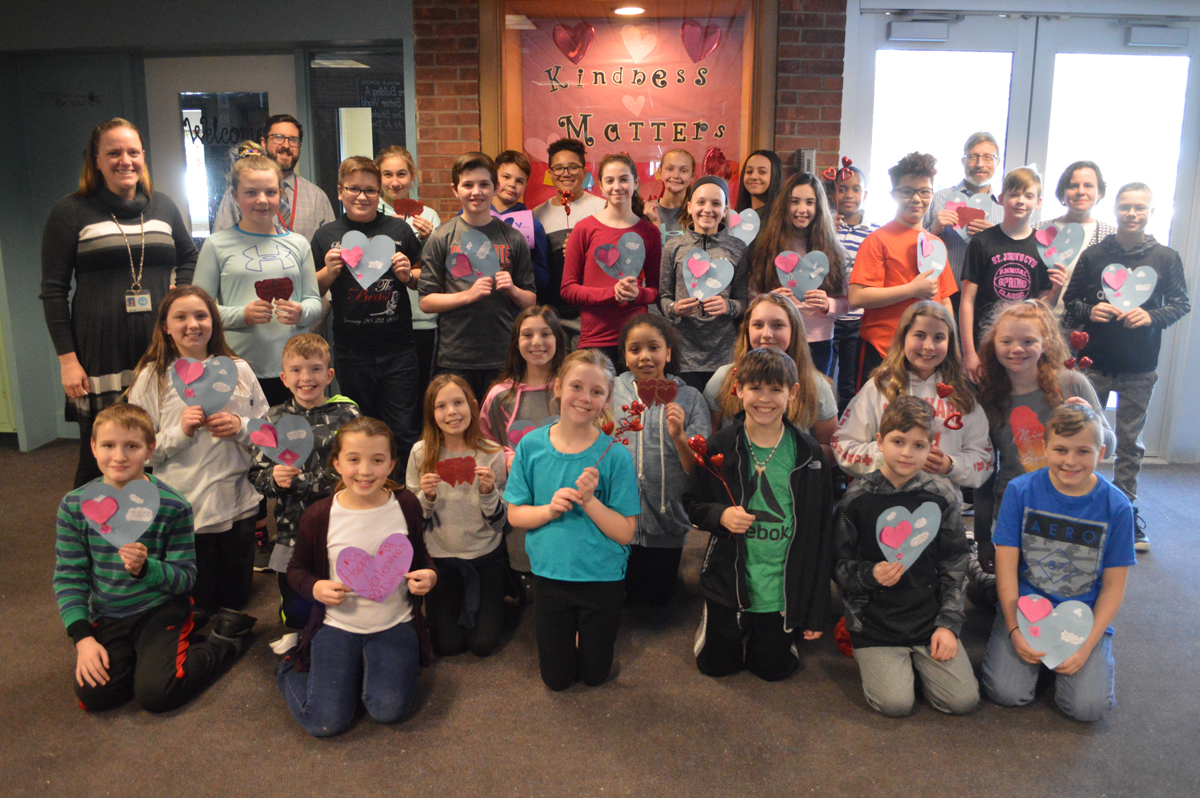 Goff students hold Valentine's Day cards