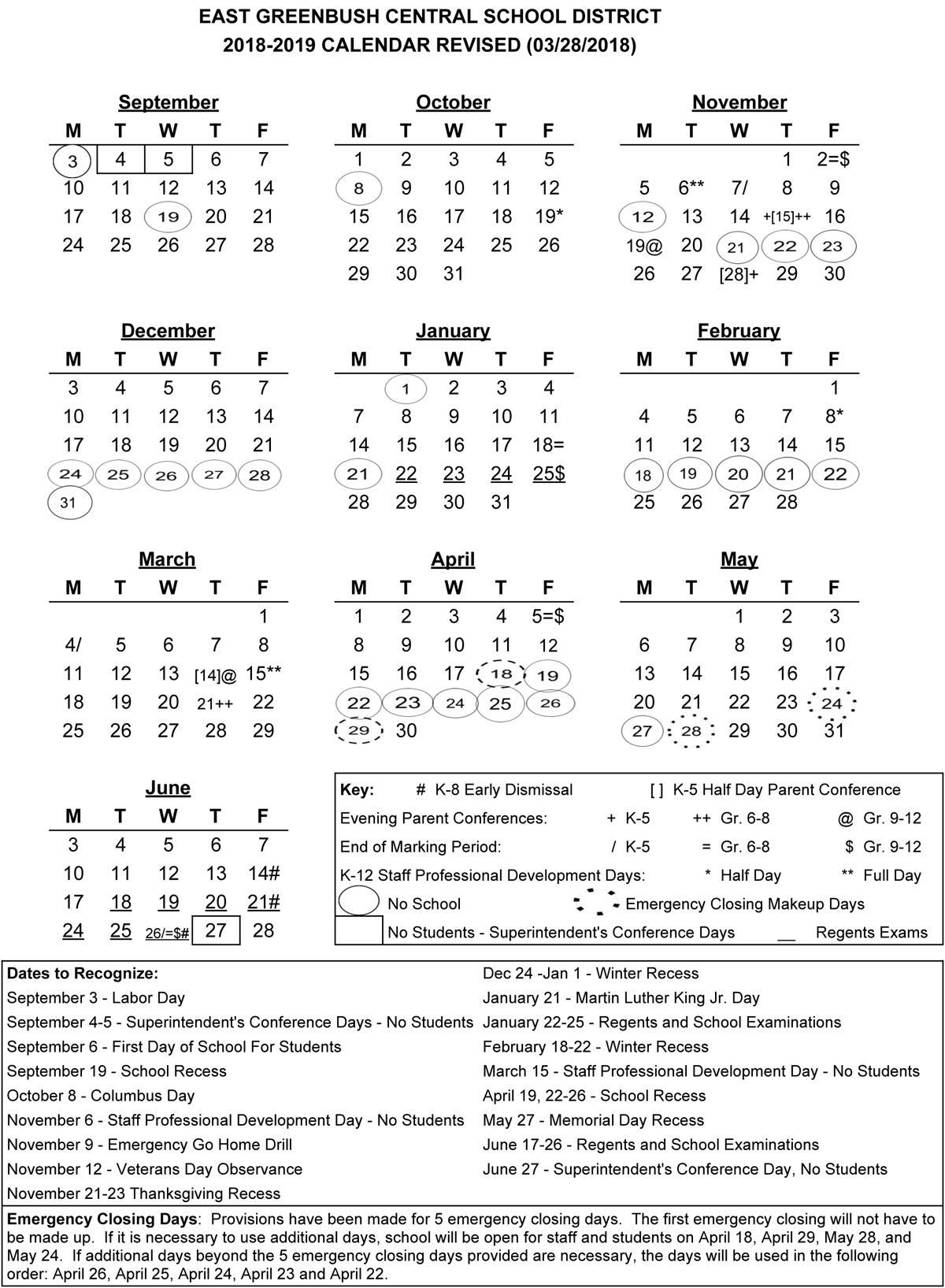 2018-19 District Calendar