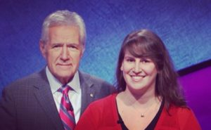 Hannah Ewing with Alex Trebek on the set of 'Jeopardy!'