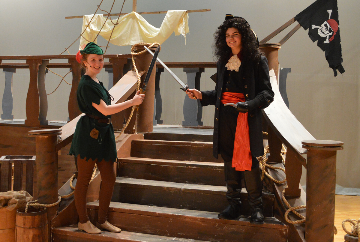 Anna Puglisi and Conor Frost at a dress rehearsal for the musical Peter Pan Jr.