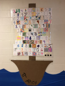 Pi Day display of pirate ship