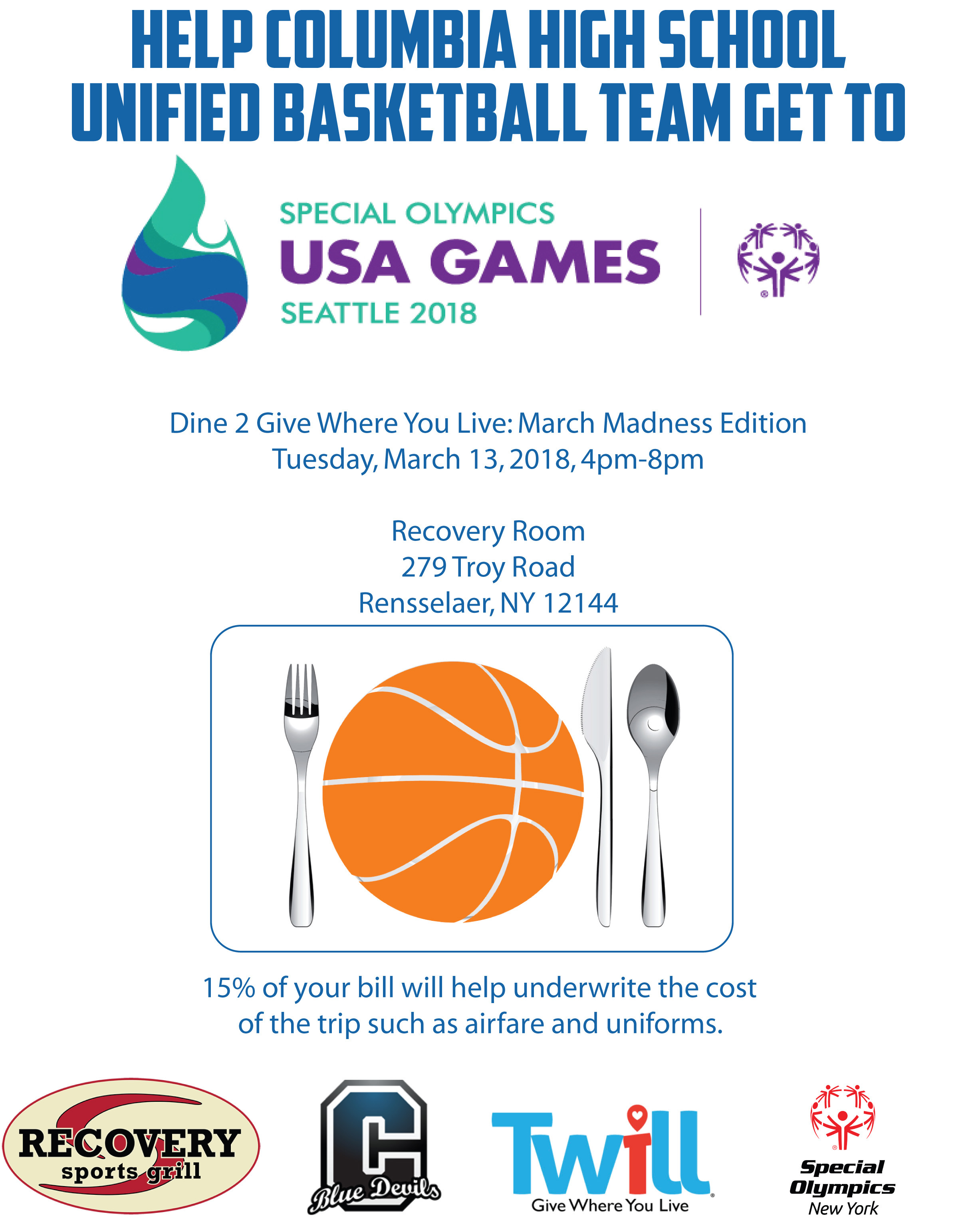 Unified Basketball Dine 2 Donate flyer