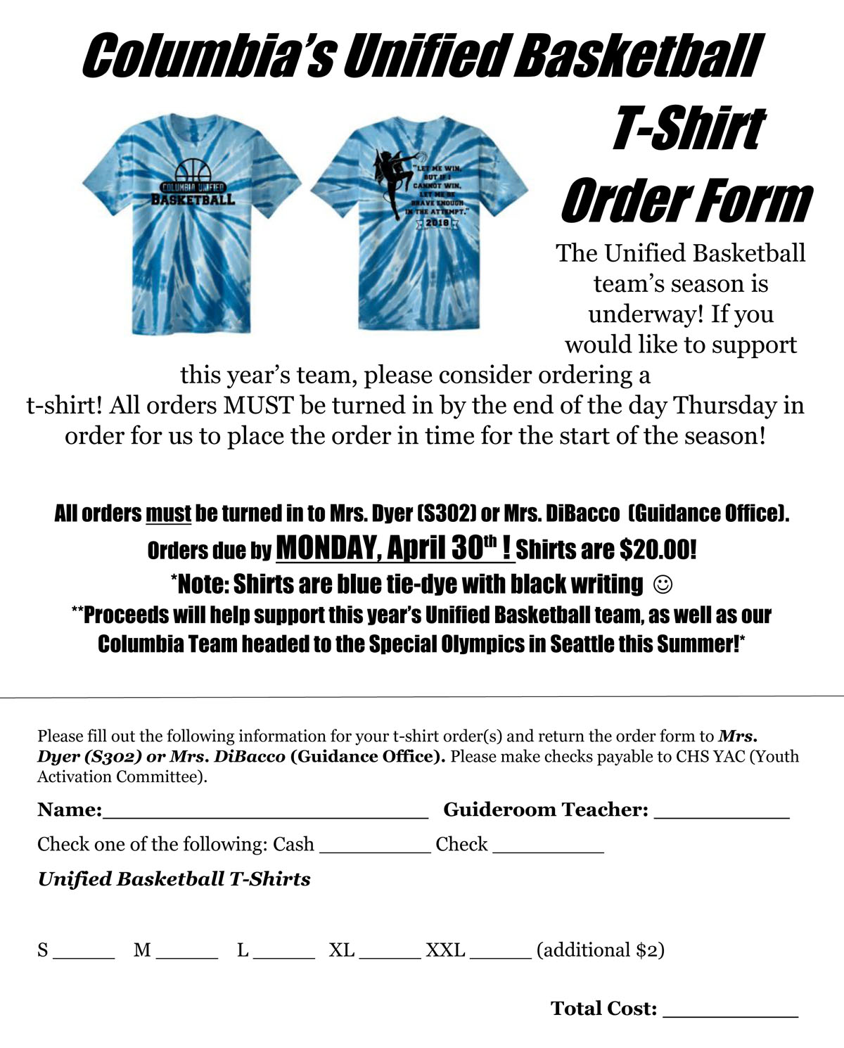 Columbia Unified Basketball shirt order form