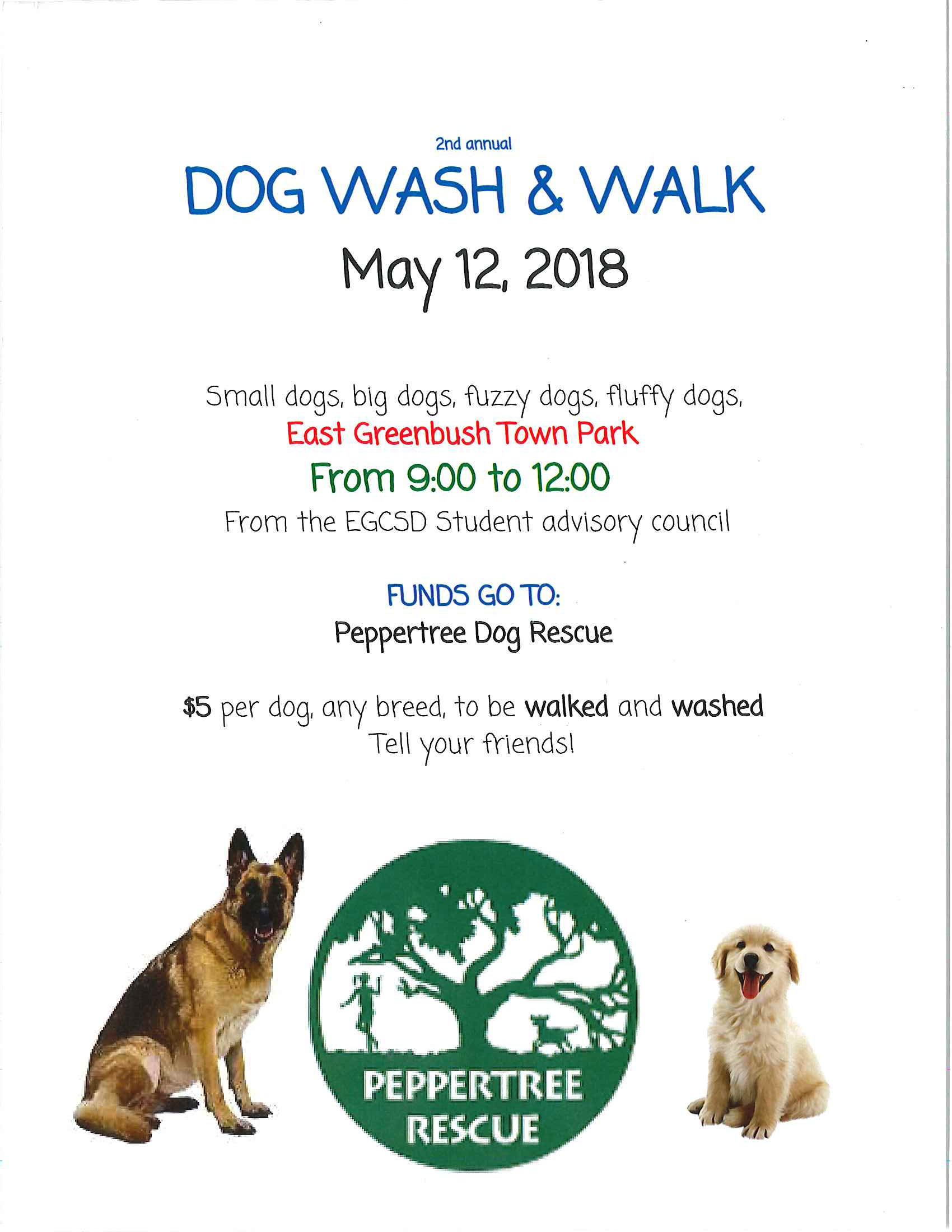 2018 Dog Walk and Wash Flyer