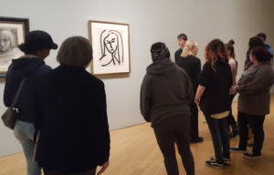 Columbia Art Club students view drawings at the Clark Art Institute in Williamstown, Mass.