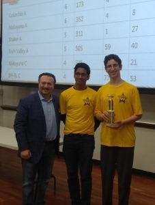 Transfinder CEO Tony Civitella, the event sponsor, with Connor Roizman and Avi Mukherjee at the Siena College Computer Programming Contest.