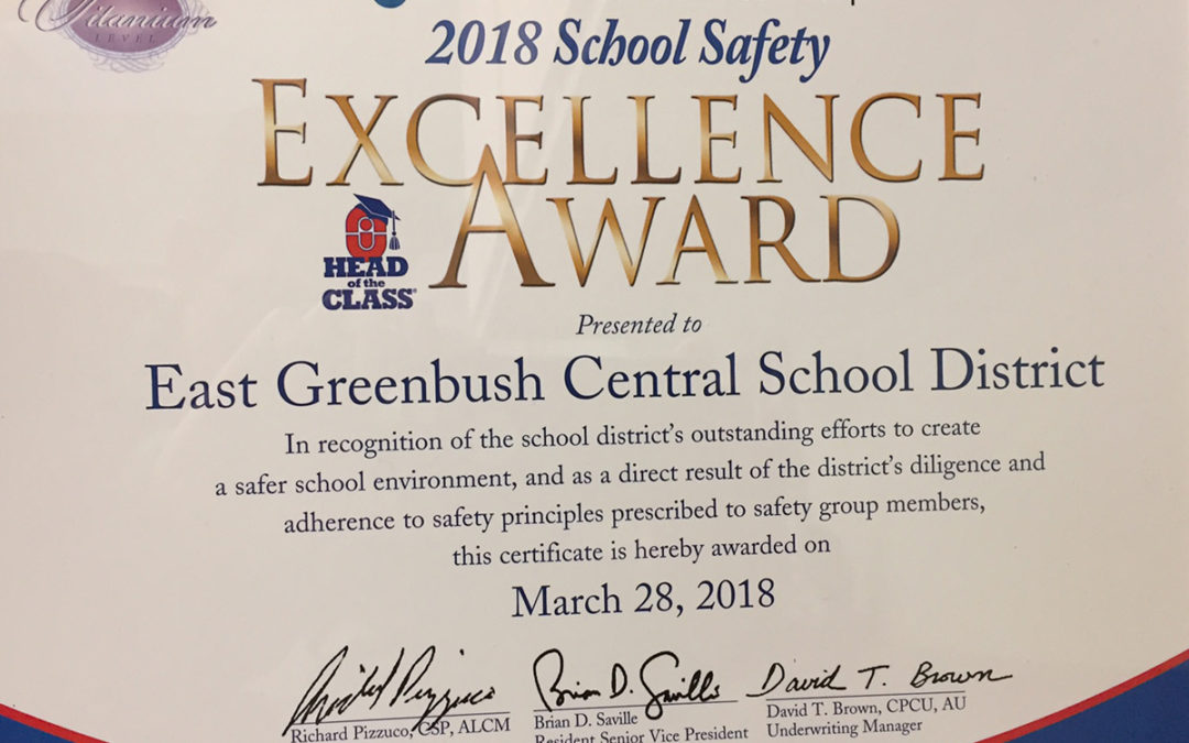 East Greenbush CSD Receives School Safety Excellence Award