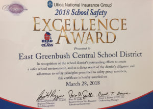 Utica National School Safety Award plaque