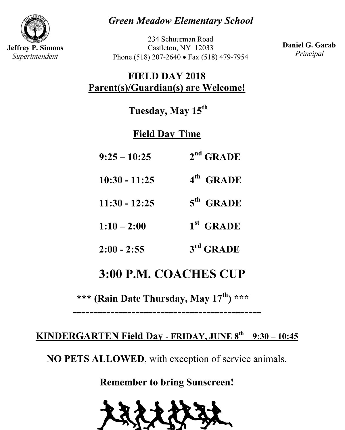 Green Meadow Field Day Schedule