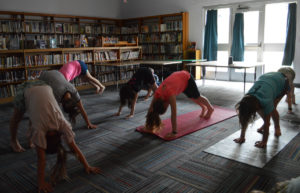 Students at yoga class