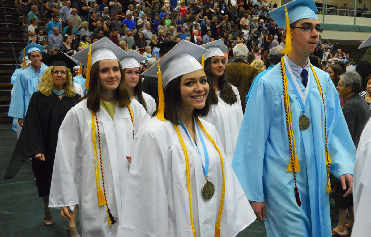 Student processional at graduation