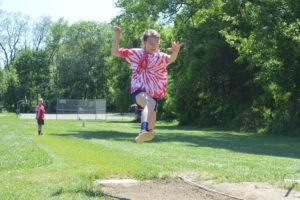 Student in longjump