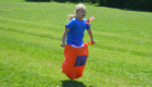Student in a sack race