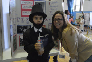 Student dressed as Abraham Lincoln