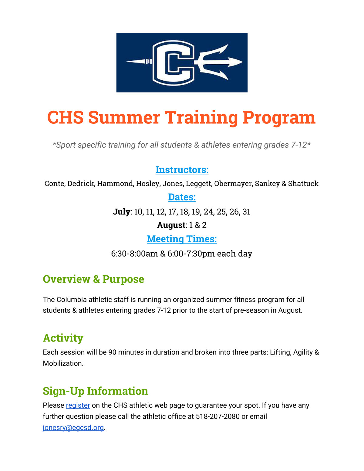 CHS Summer Fitness Training Flyer